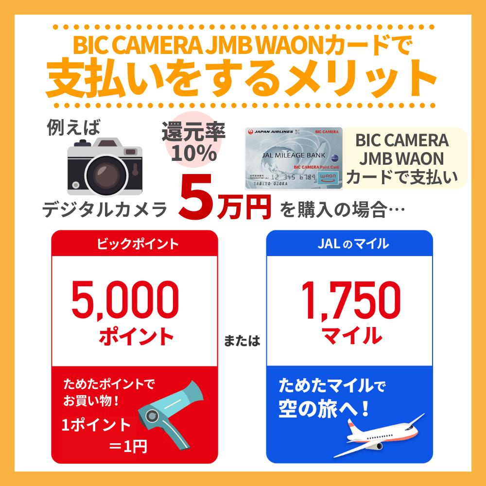 ビックカメラでBIC CAMERA JMB WAONカード支払いをするメリット