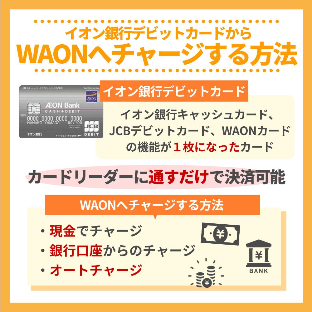 イオン銀行デビットカードからWAONへチャージする方法