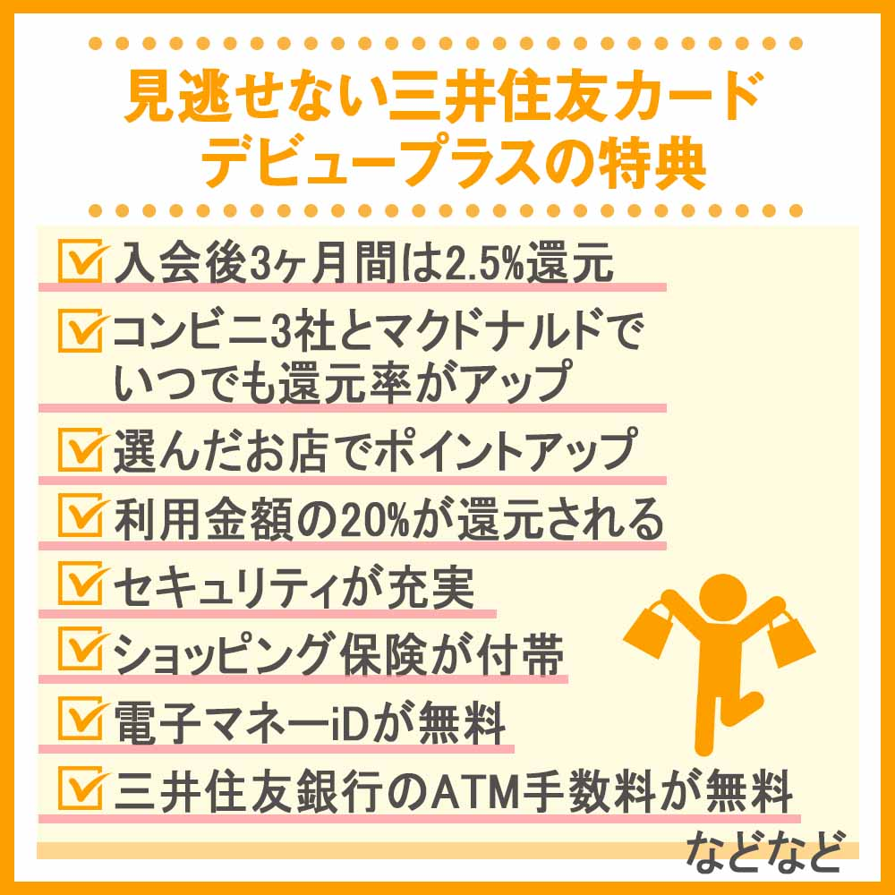 見逃せない三井住友カード デビュープラスの特典