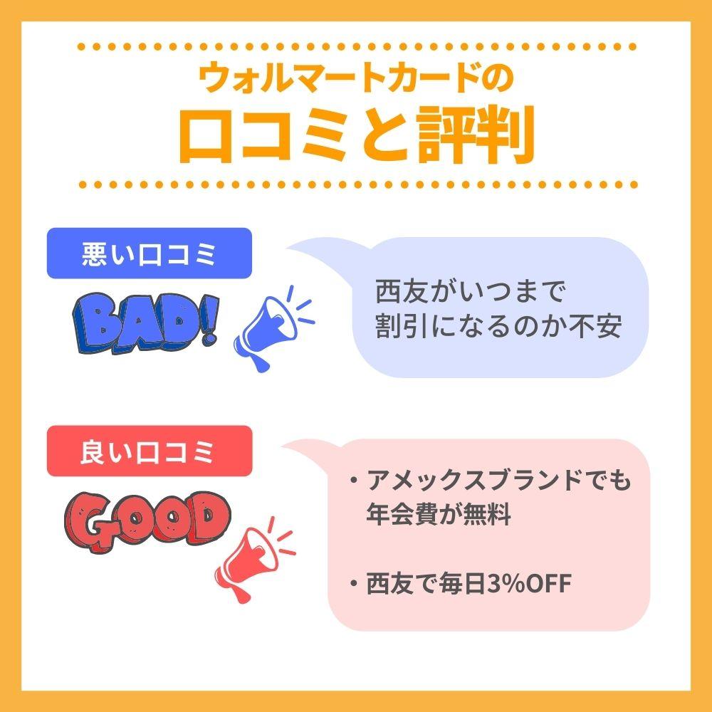 ウォルマートカードの口コミ/評判