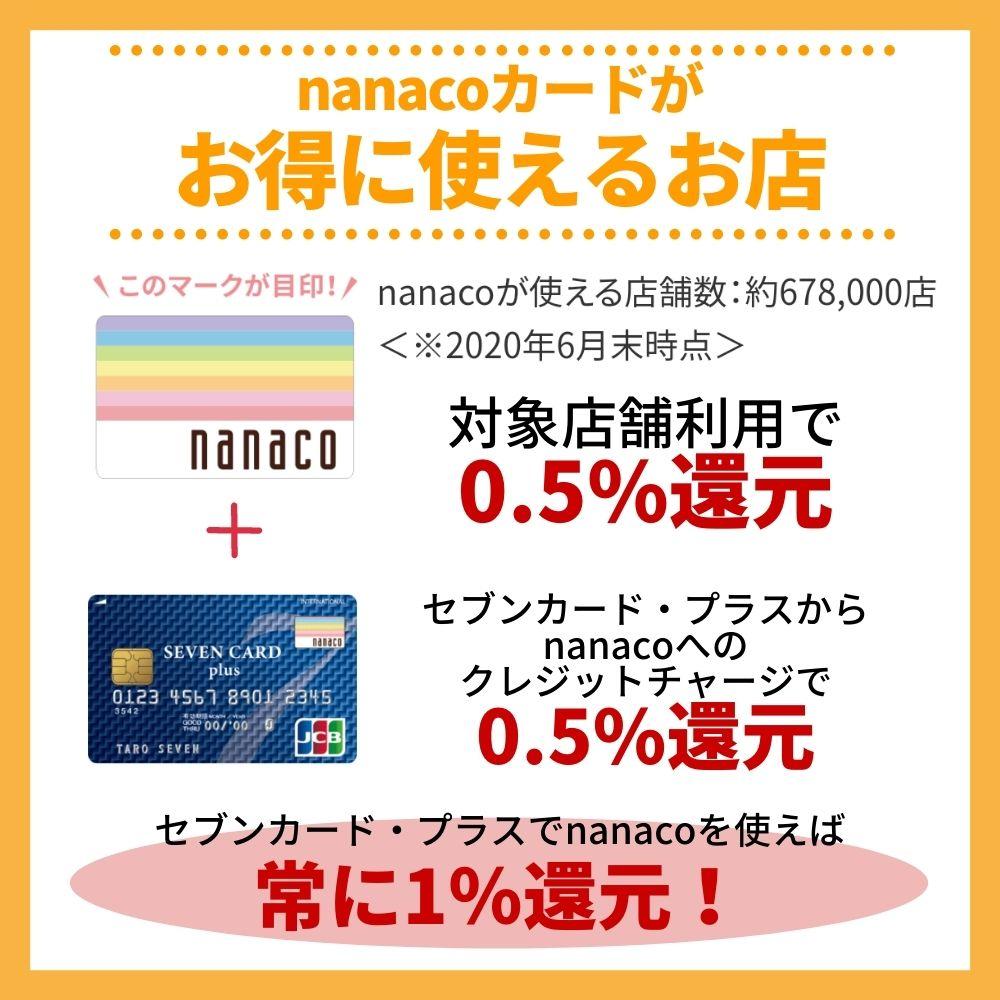 nanacoカードがお得に使えるお店