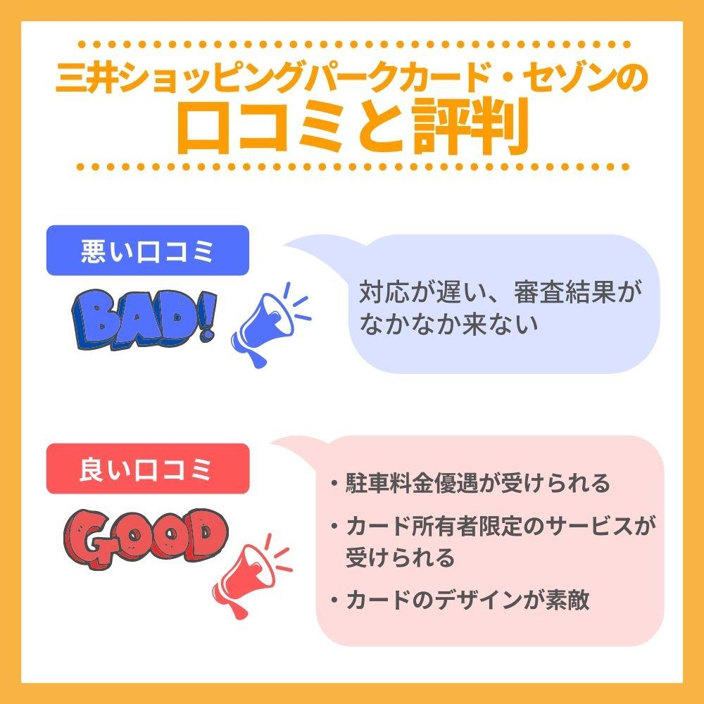 三井ショッピングパークカード・セゾンの口コミ/評判