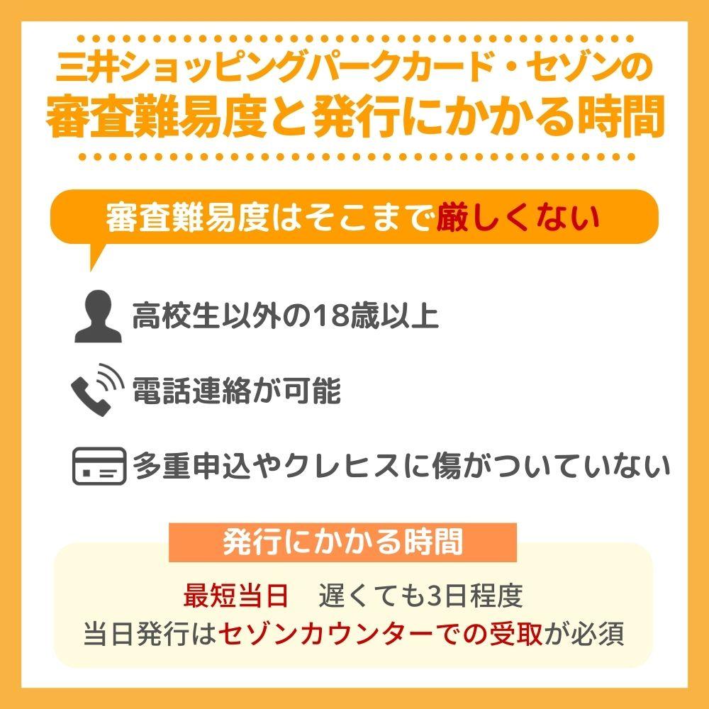 三井ショッピングパークカード・セゾンの審査難易度・かかる時間