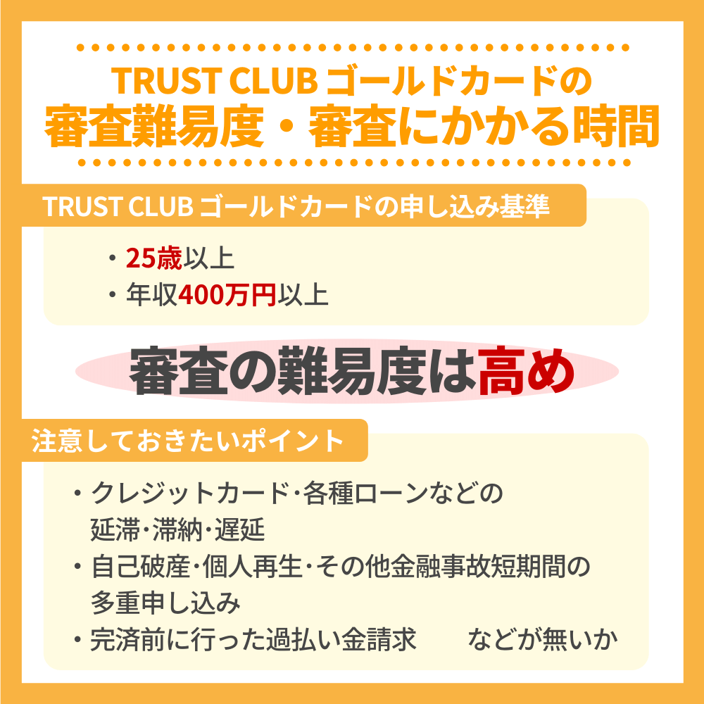 TRUST CLUB ゴールドカードの審査難易度・審査にかかる時間
