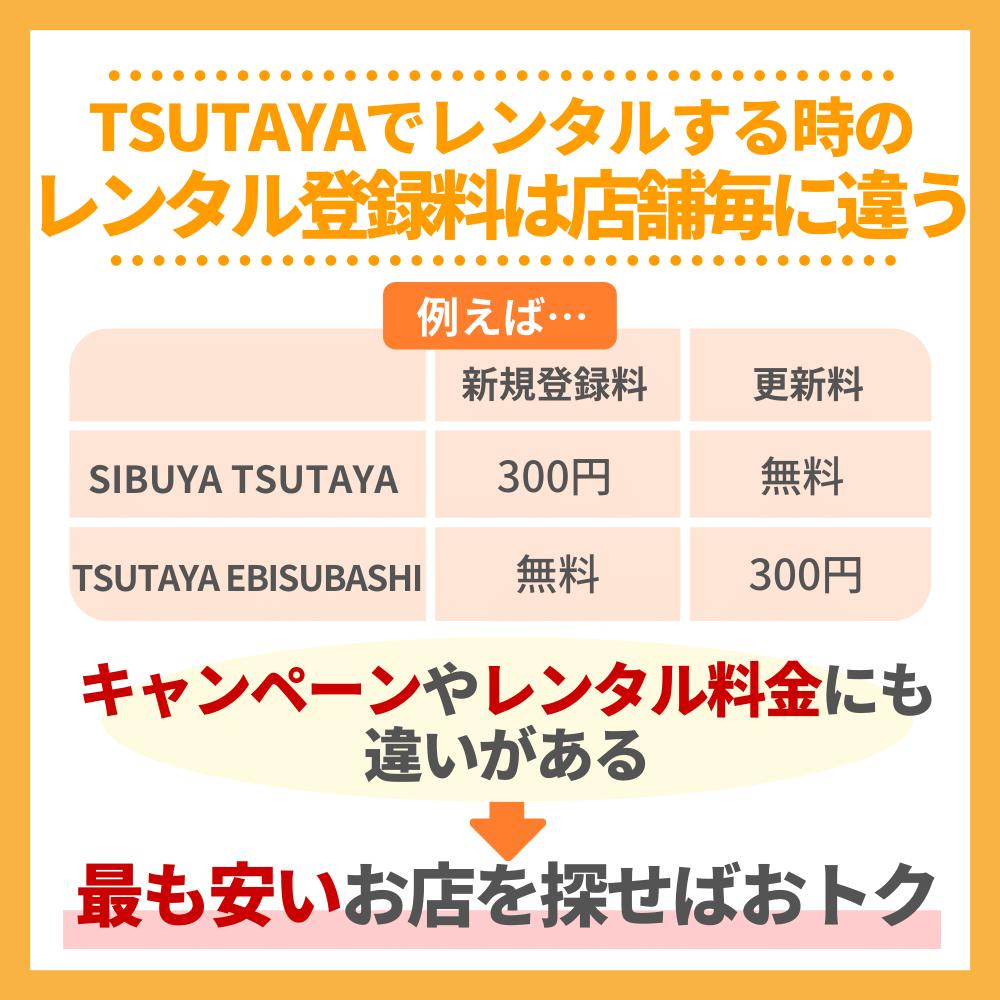 TSUTAYAでレンタルする時のレンタル登録料は店舗毎に違う