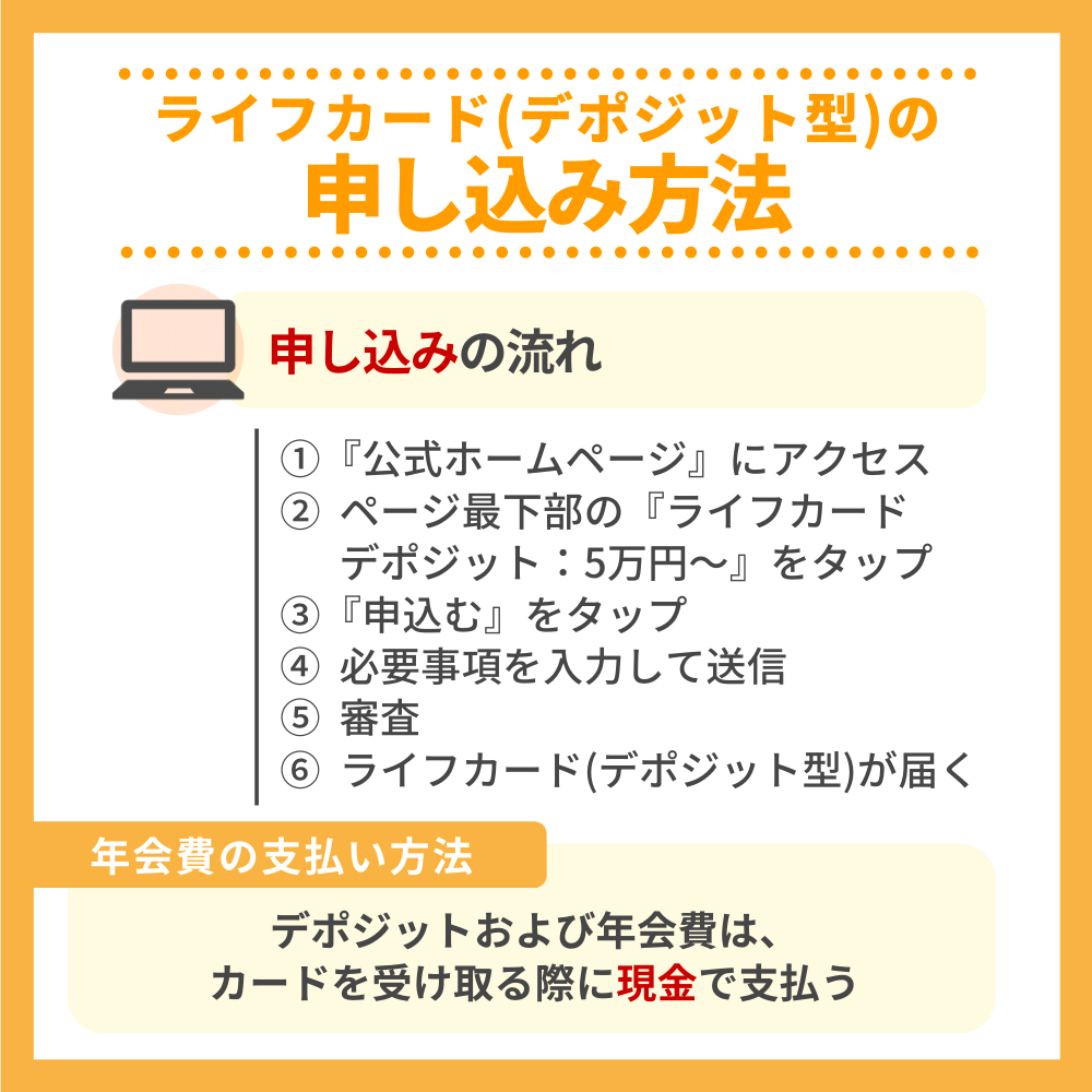 ライフカード(デポジット型)の申込方法