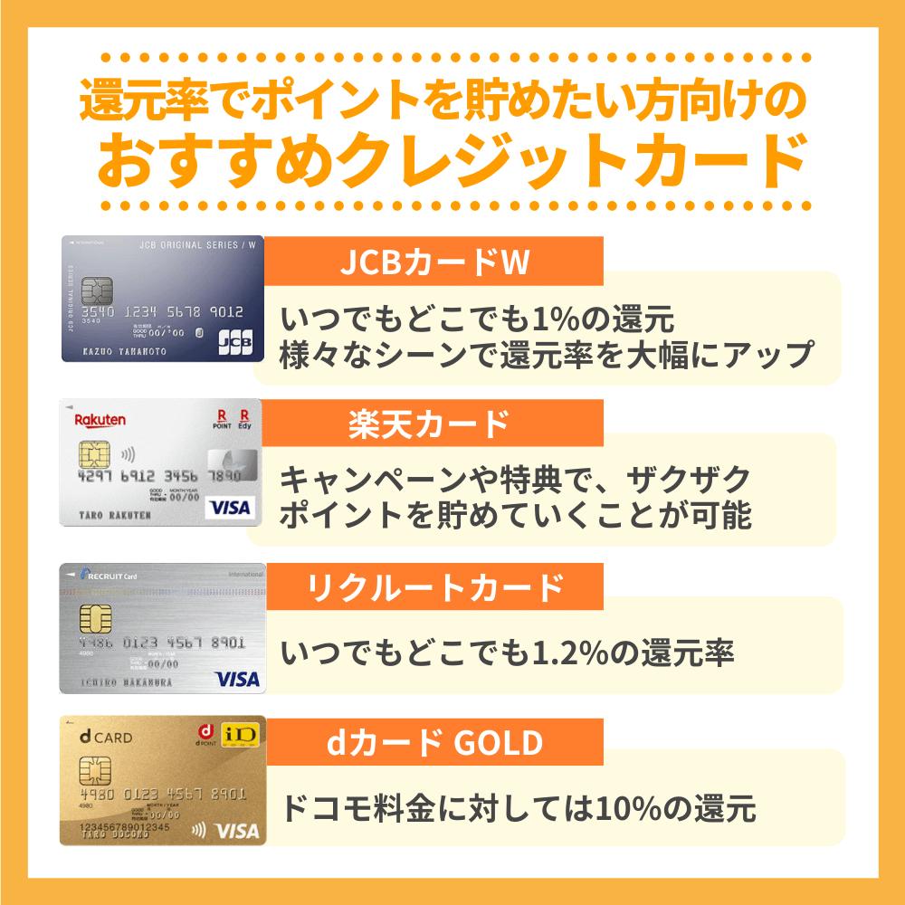 還元率でポイントを貯めたい方向けおすすめのクレジットカード