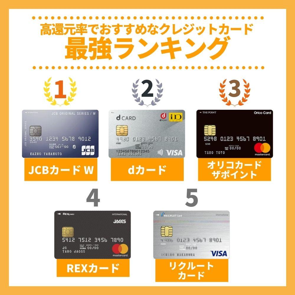 【2020年版】高還元率なおすすめクレジットカード最強ランキング