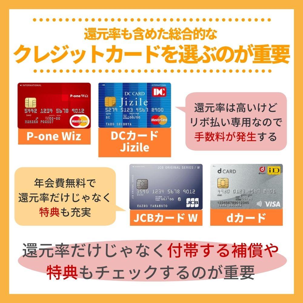 還元率を含めた総合的なクレジットカードを選ぼう!