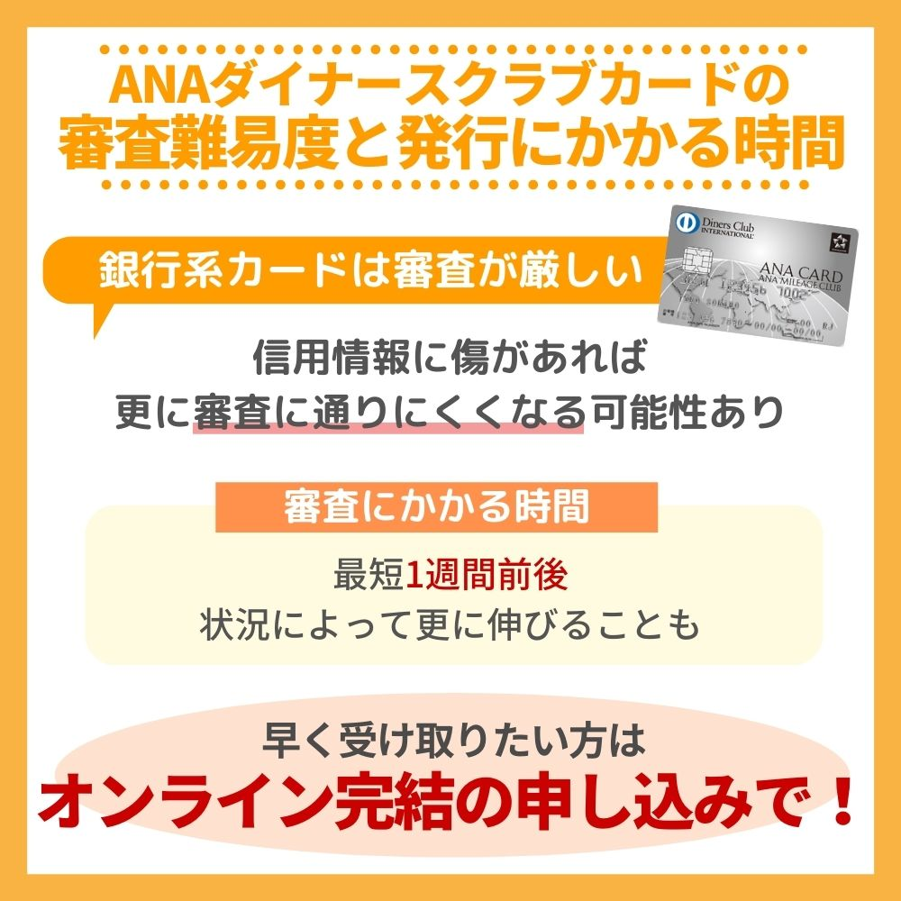 ANAダイナースクラブカードの審査難易度と審査にかかる時間