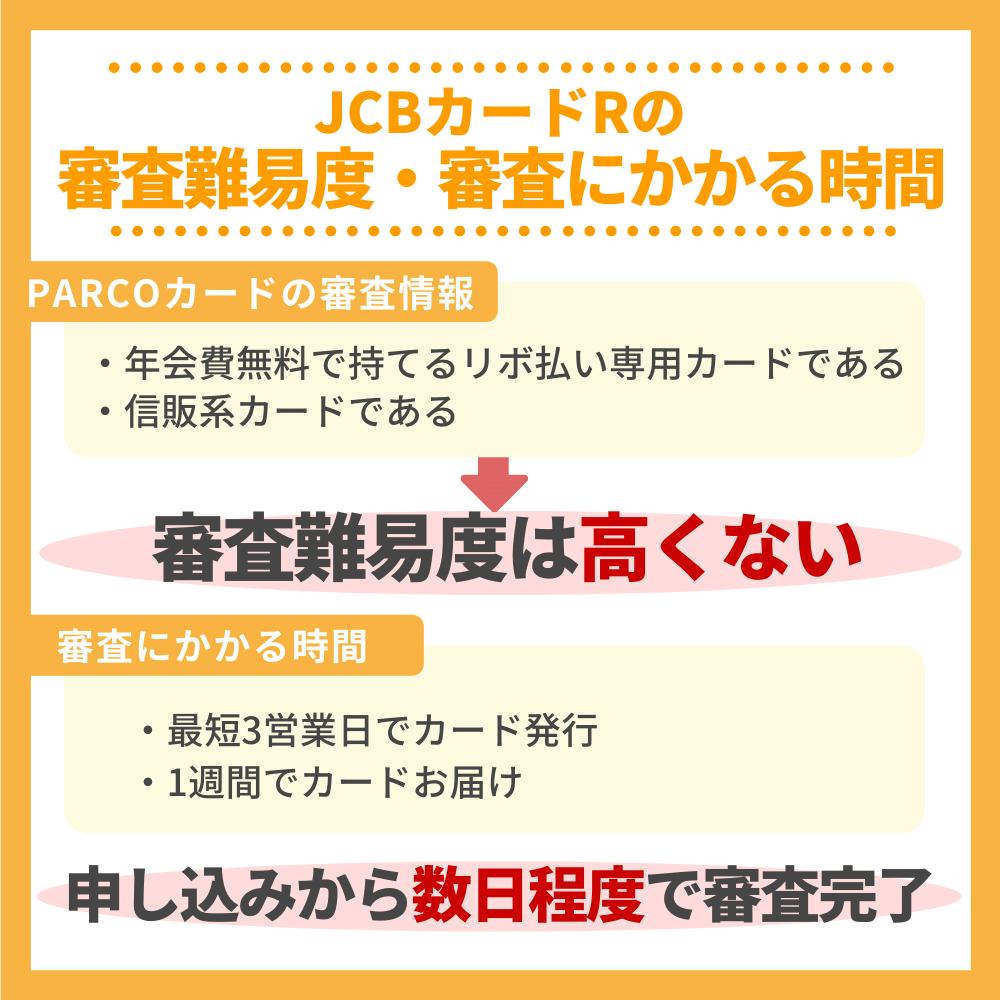 JCBカードRの審査難易度と審査にかかる時間