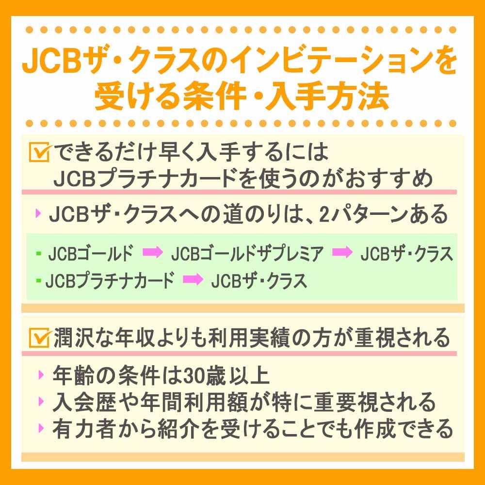 JCBザ・クラスのインビテーションを受ける条件・入手方法