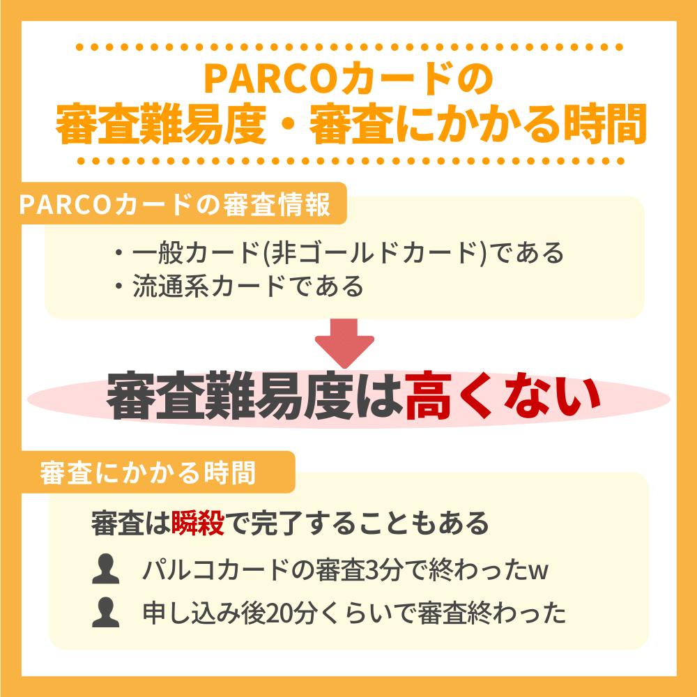 PARCOカードの審査難易度と審査にかかる時間