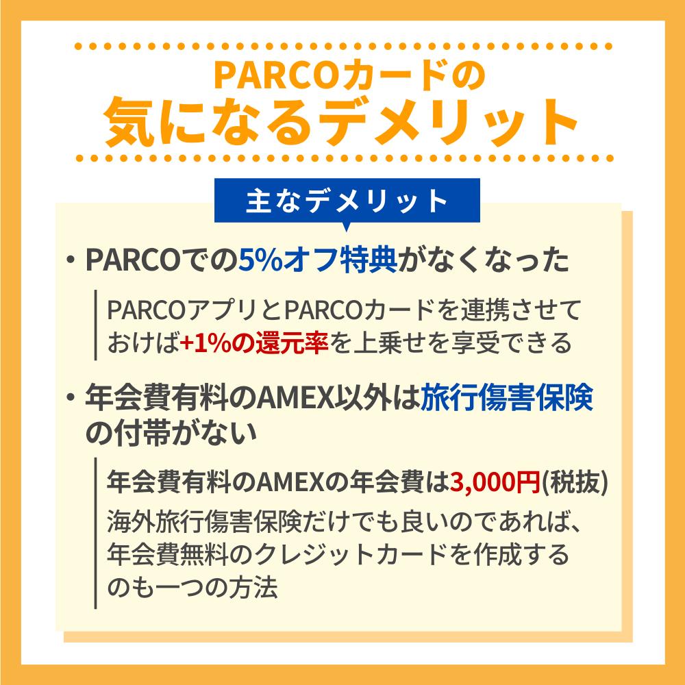 PARCOカードの気になるデメリット