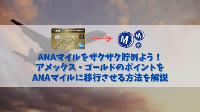 アメックス・ゴールドカードで貯めたポイントをANAマイルに移行する方法|ANAマイルをザクザク貯める方法も解説