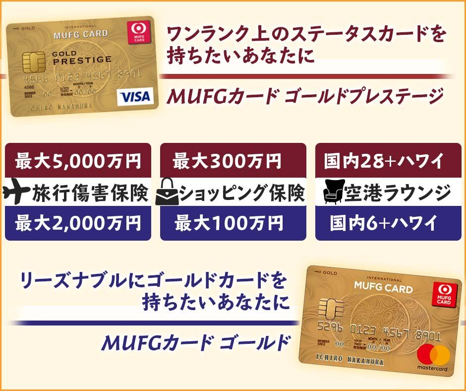 MUFGカード ゴールドプレステージとMUFGゴールドの違いを比較