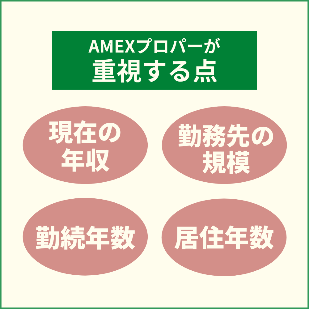AMEXプロパーの審査は現状重視