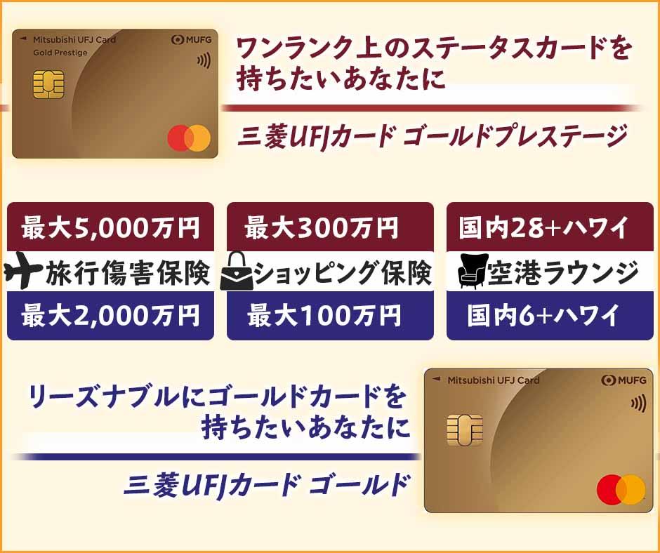 三菱UFJカード ゴールドプレステージと三菱UFJカード ゴールドの違いを比較