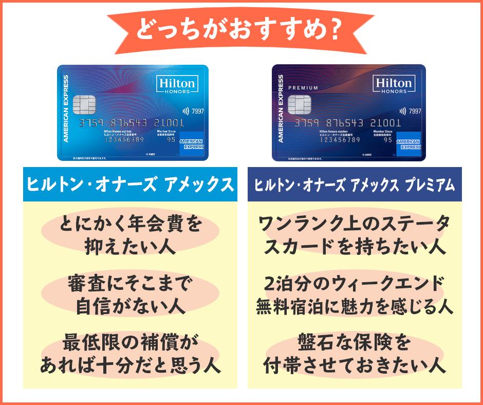 ヒルトン・オナーズ アメックスとヒルトン・オナーズ プレミアム・アメックスの違いを比較|本当にお得なのはどっち?
