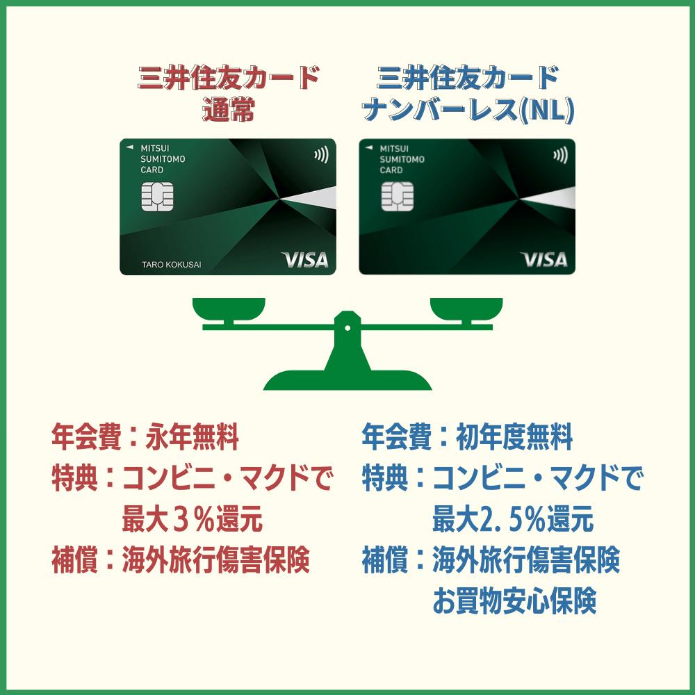 三井住友カード ナンバーレス(NL)と通常の三井住友カードの違いを比較|本当にお得なのはどっち?