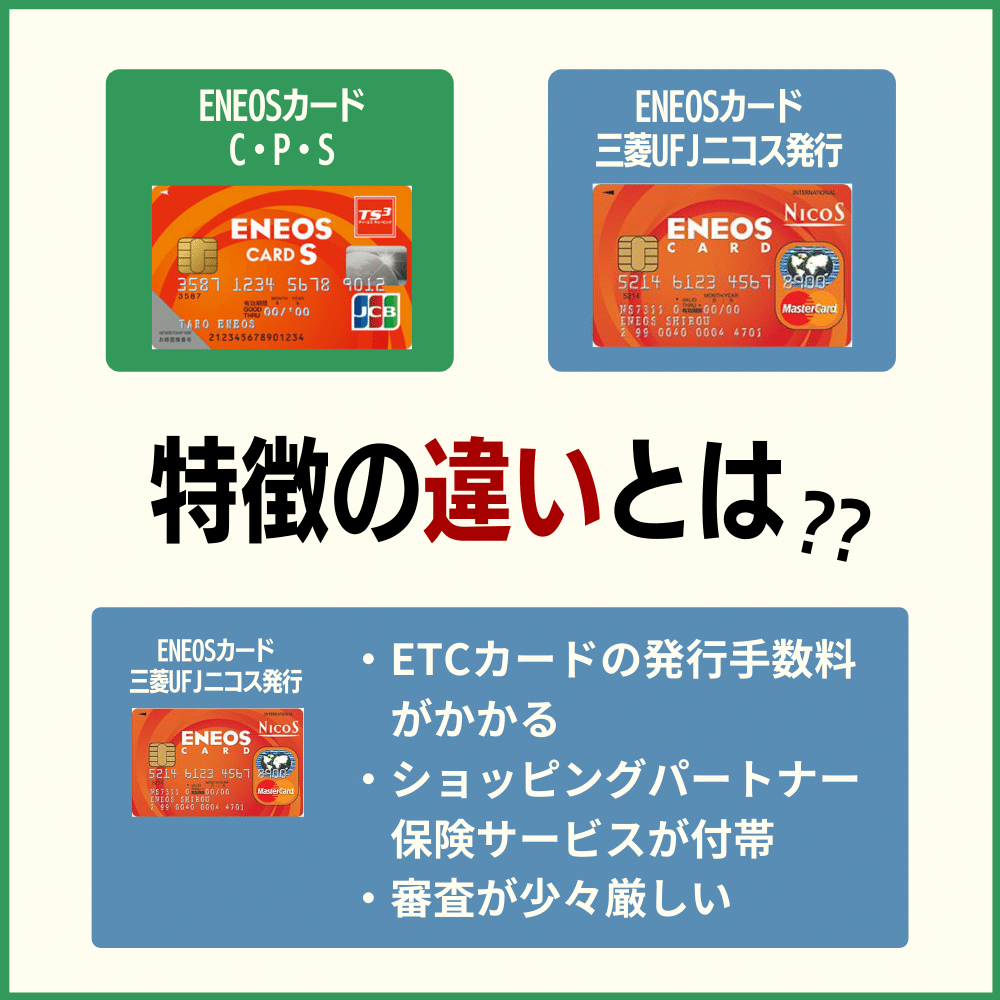三菱UFJニコス発行のENEOSカードとの違いを比較
