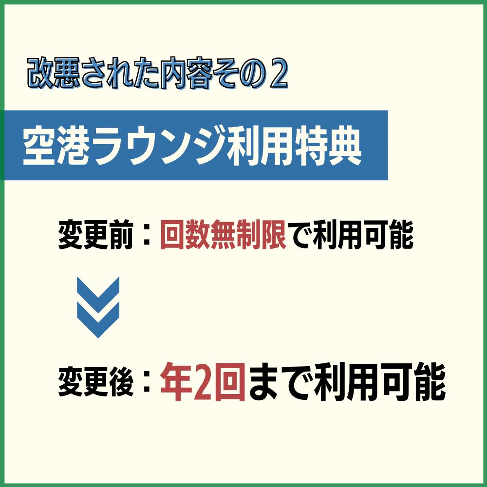 空港ラウンジ利用特典が無制限から年2回までに制限された