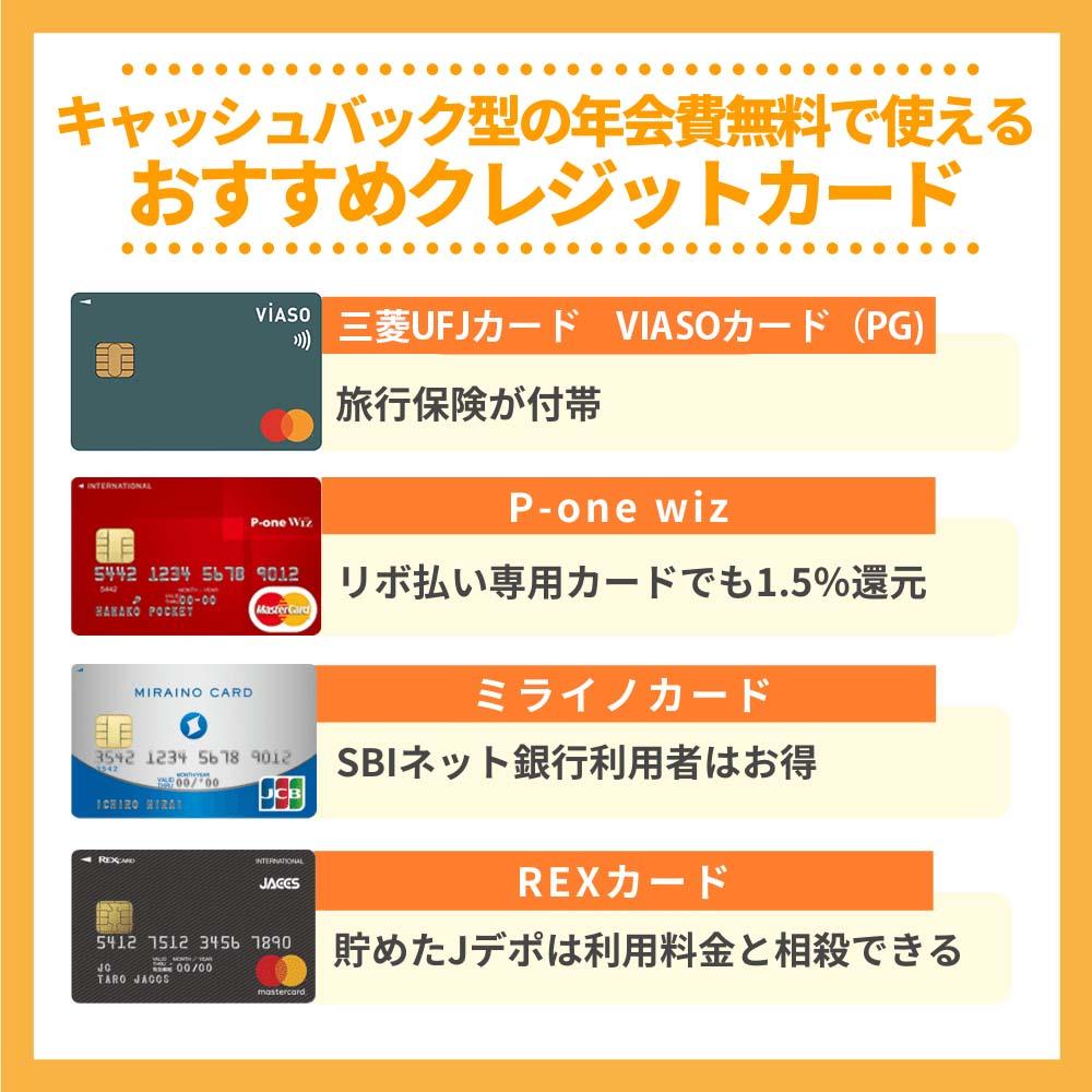 キャッシュバック型の年会費無料で使えるおすすめクレジットカード