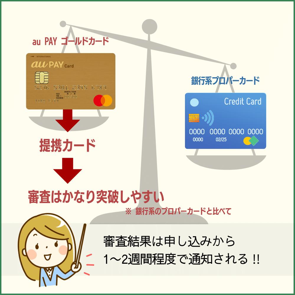 au PAY ゴールドカードの審査難易度や審査時間