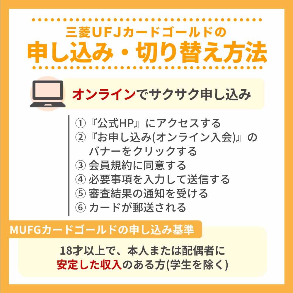 三菱UFJカード ゴールドの申し込み・切り替え方法