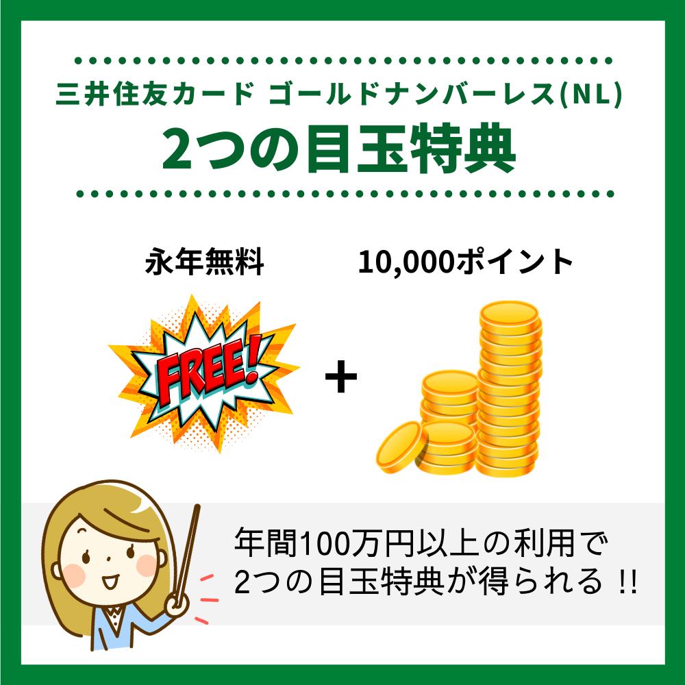 年間100万円以上のカード利用で2つの目玉特典が得られる