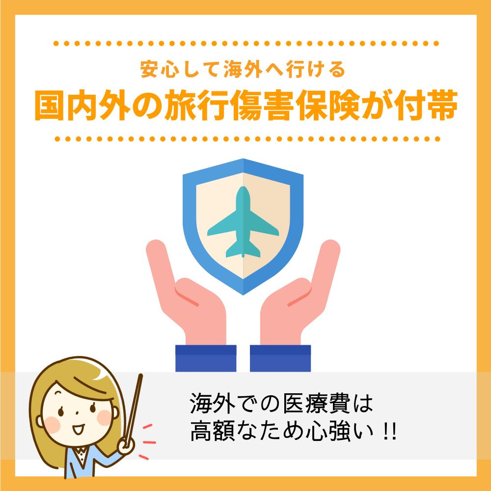 国内外の旅行傷害保険が付帯